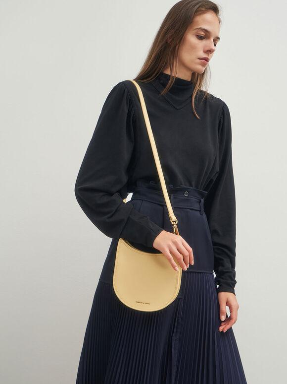 Ring Detail Hobo Bag, Yellow, hi-res