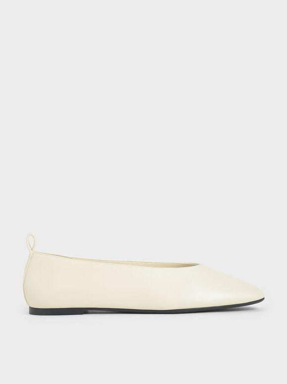 Ballerina Flats, Cream, hi-res