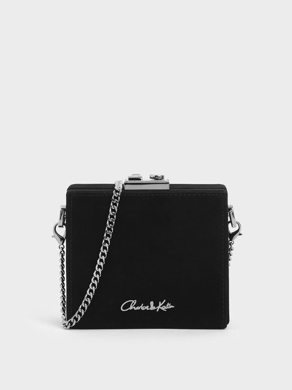 Square Clutch (Kid Suede), Black, hi-res