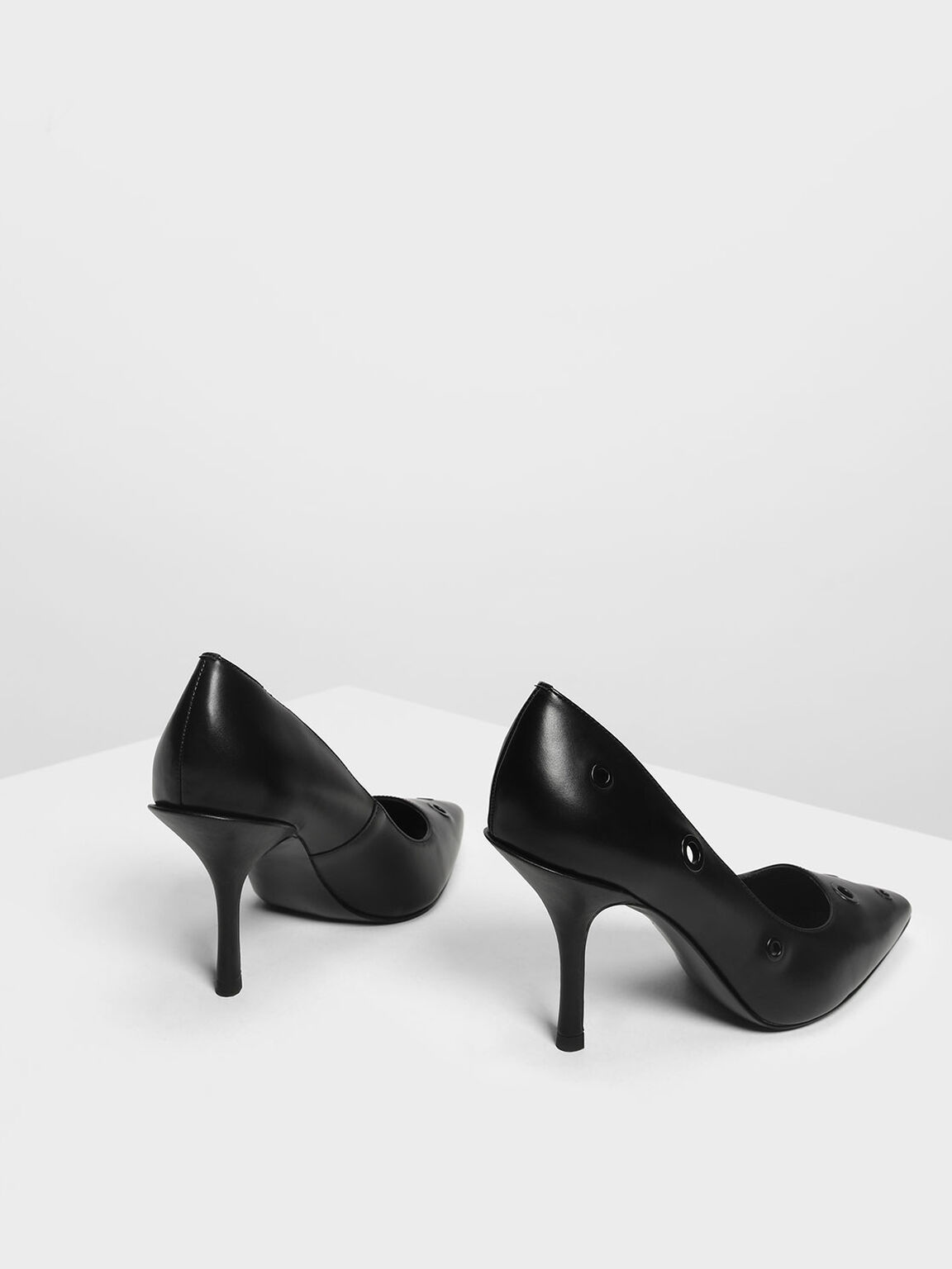 Eyelet Detail Court Shoes, Black, hi-res