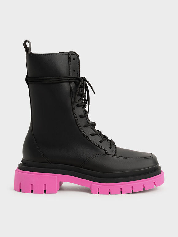Rhys Coloured Sole Combat Boots, Fuchsia, hi-res