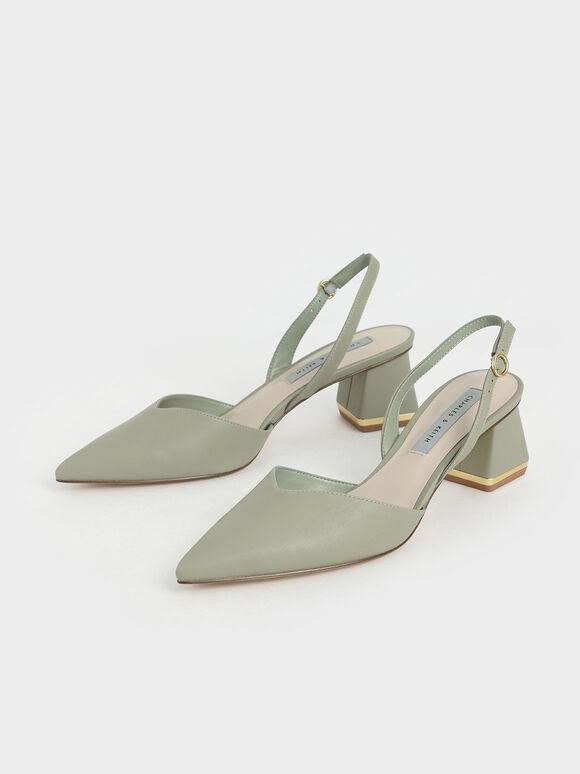 Trapeze Heel Slingback Court Shoes, Sage Green, hi-res
