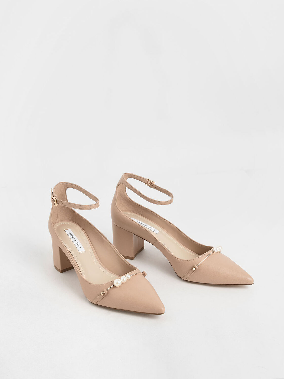 Embellished Pointed Toe Pumps, Nude, hi-res