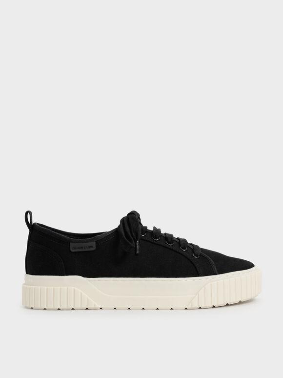 Cotton Low-Top Sneakers, Black, hi-res