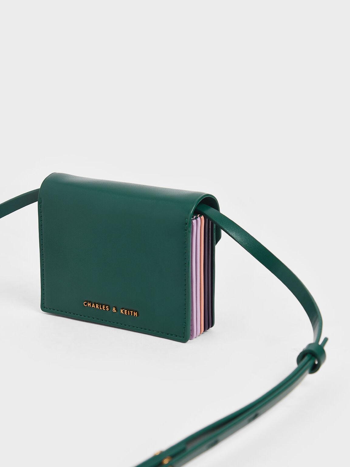 Front Flap Card Holder, Dark Green, hi-res