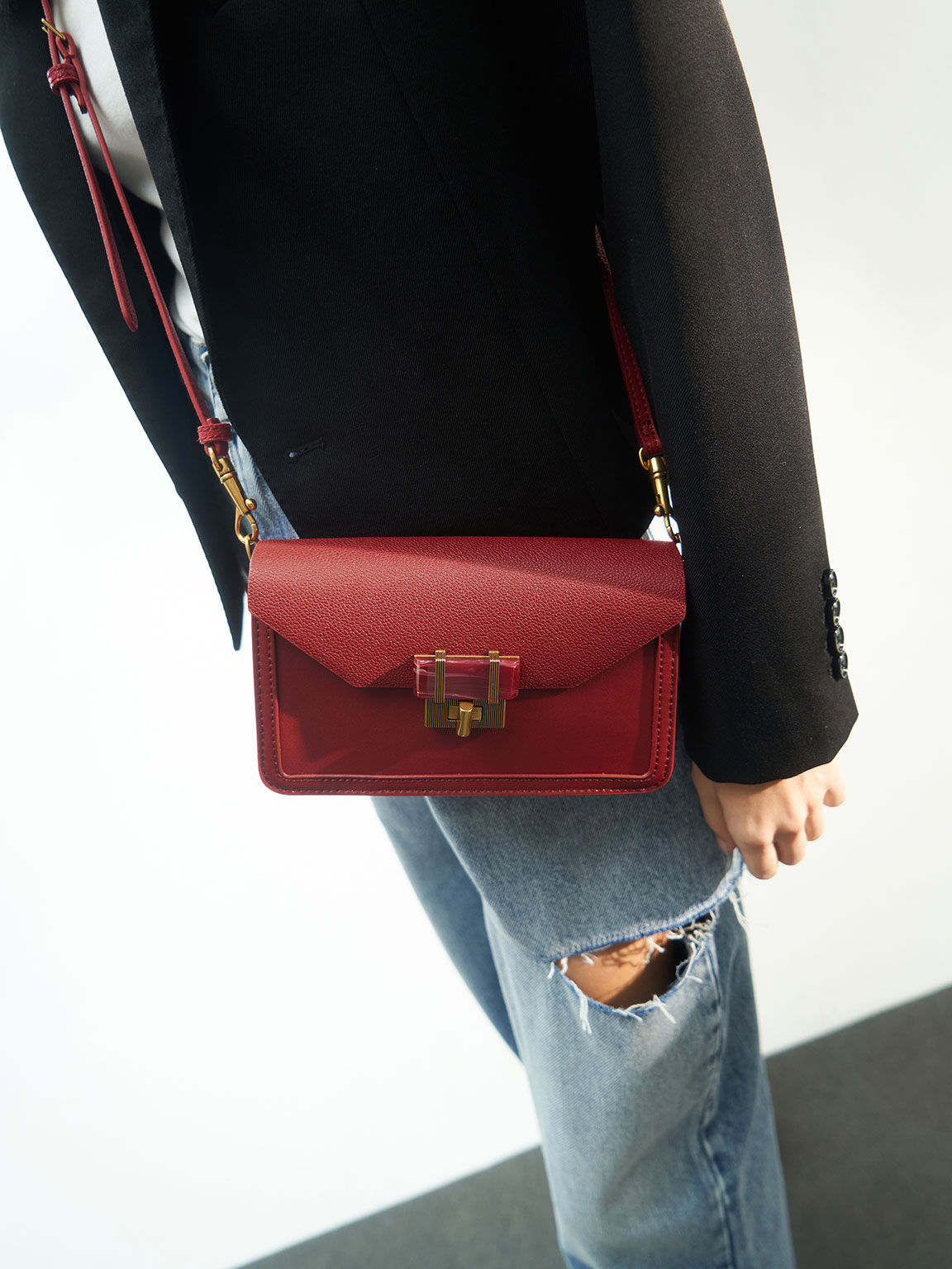 Stone-Embellished Envelope Bag, Red, hi-res