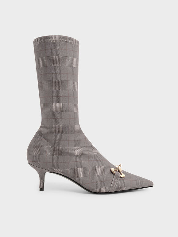 Elery Houndstooth-Print Slip-On Ankle Boots, Multi, hi-res