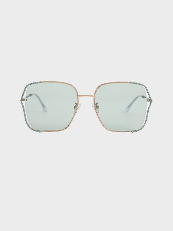 Tinted Butterfly Sunglasses, Green, hi-res