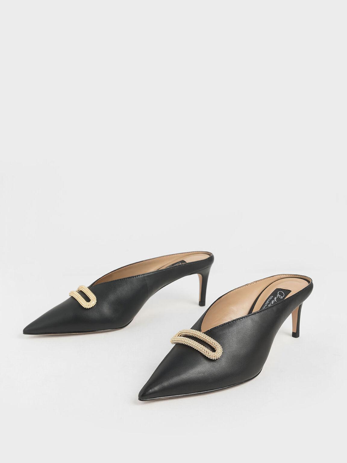 Leather Metallic Accent Heeled Mules, Black, hi-res