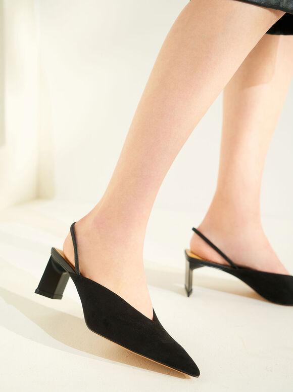 Textured Blade Heel Slingback Court Shoes, Black, hi-res