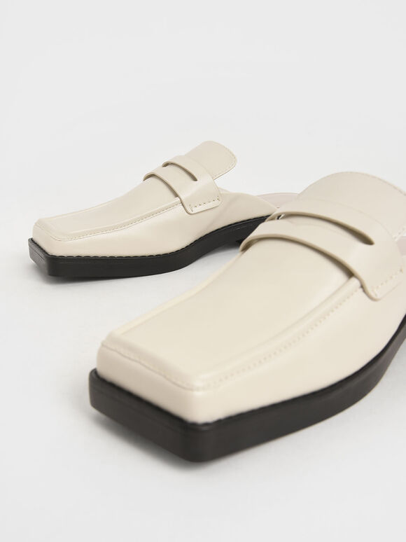 Square Toe Penny Loafer Mules, Chalk, hi-res