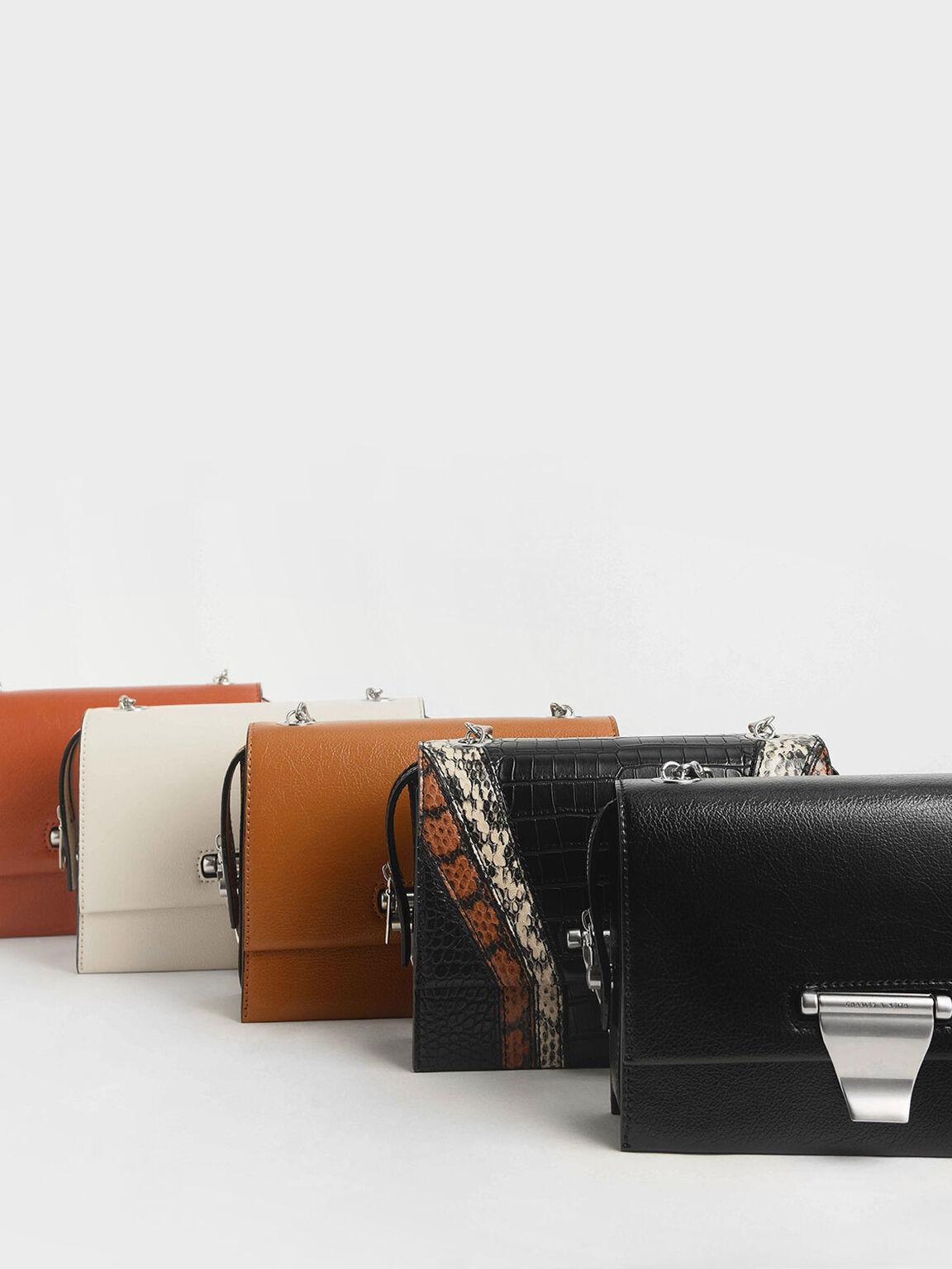 Metal Push-Lock Crossbody Bag, Cream, hi-res