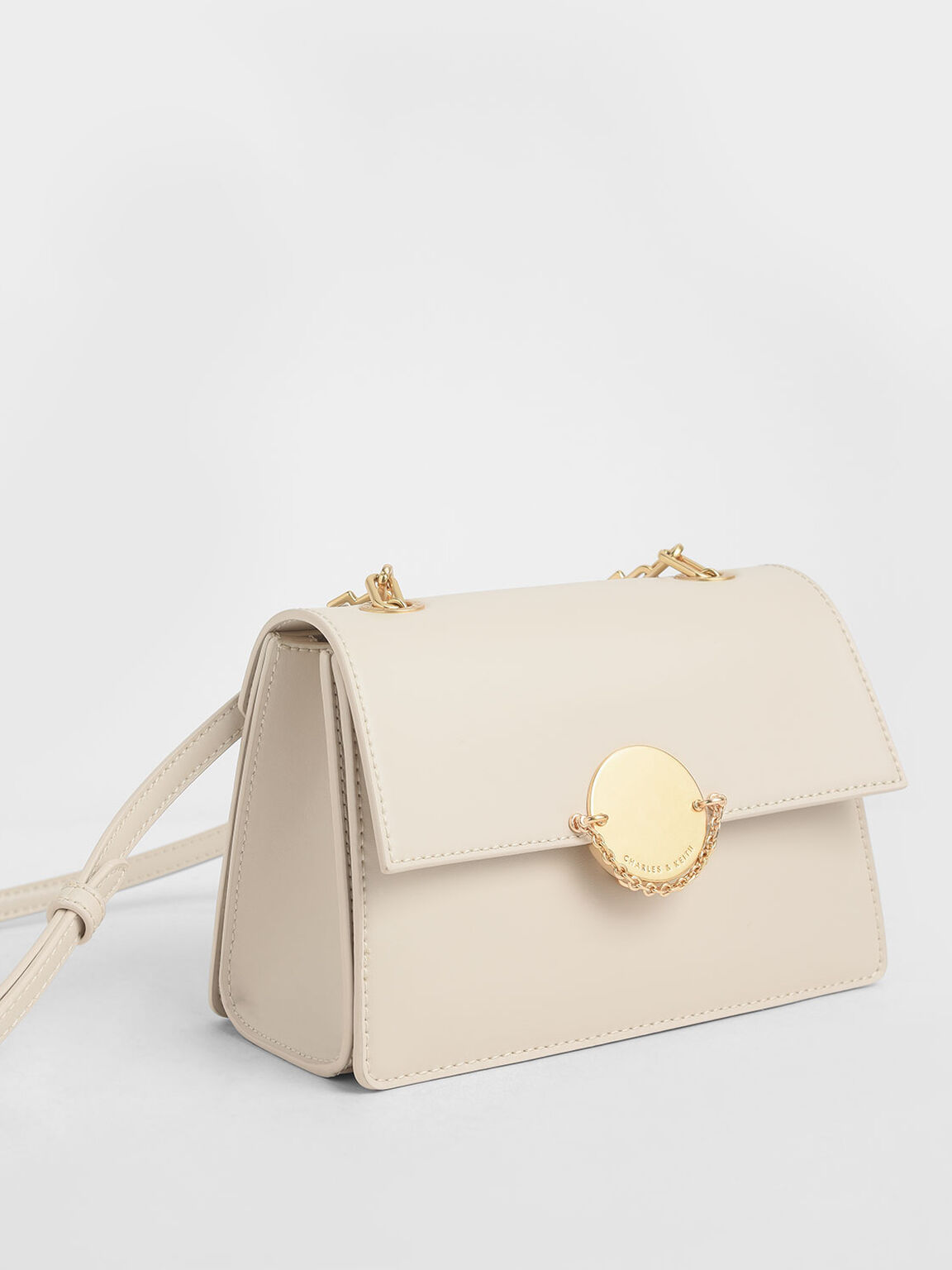 Chain Link Crossbody Bag, Cream, hi-res