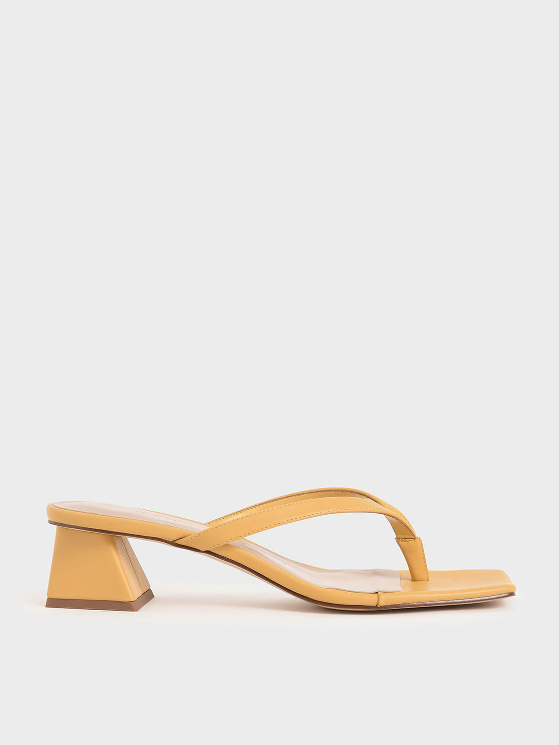 Thong Heeled Sandals, Yellow, hi-res