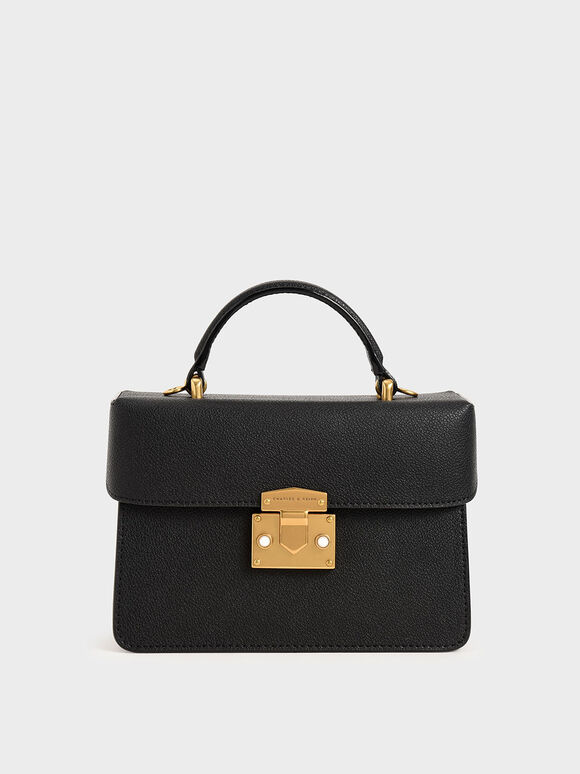 Metallic Push-Lock Boxy Bag, Black, hi-res