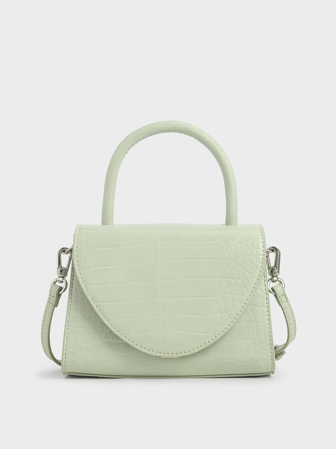 Croc-Effect Structured Top Handle Bag, Mint Green, hi-res