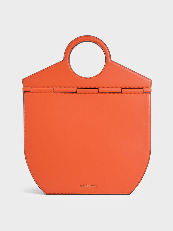 Geometric Tote Bag, Orange, hi-res