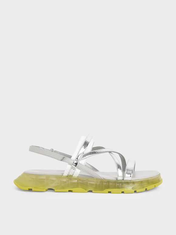 Metallic Strappy Flatform Sandals, Silver, hi-res