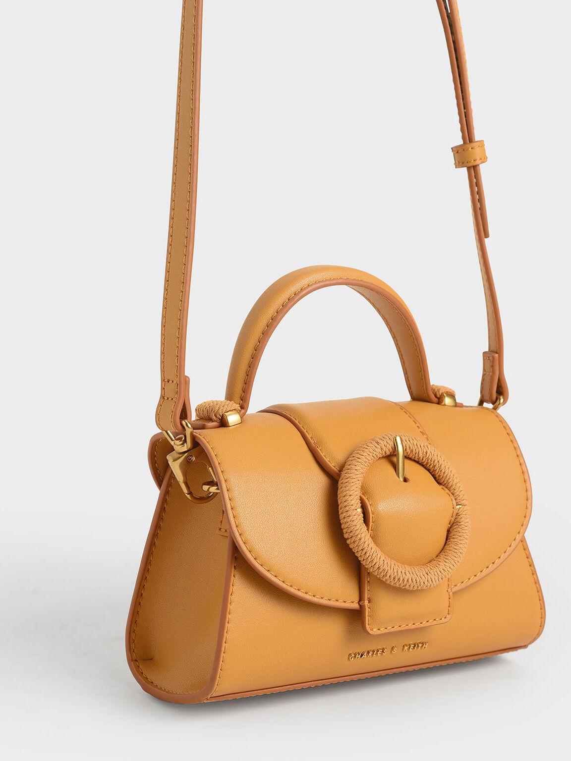 Woven Buckle Top Handle Bag, Mustard, hi-res
