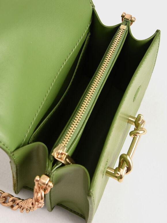 Metallic Buckle Crossbody Bag, Green, hi-res
