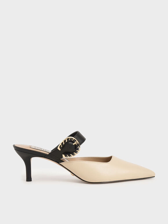 Leather Buckle Strap Mules, Chalk, hi-res