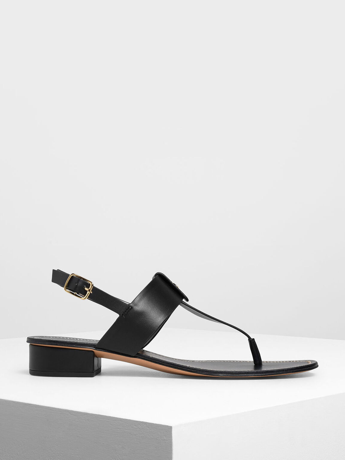 Gold Button Accent Thong Sandals, Black, hi-res