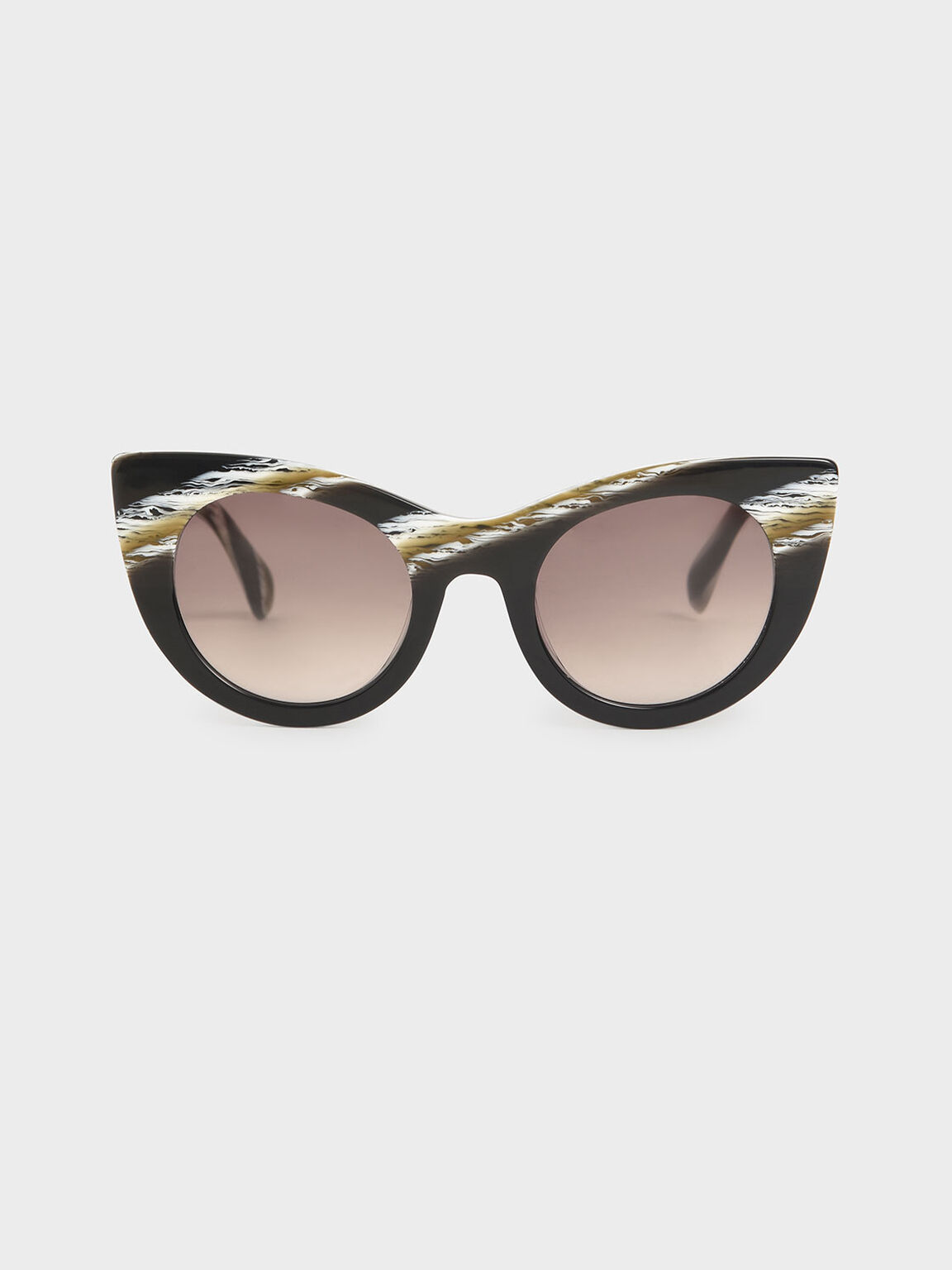 Striped Thick Frame Cat-Eye Sunglasses, Multi, hi-res