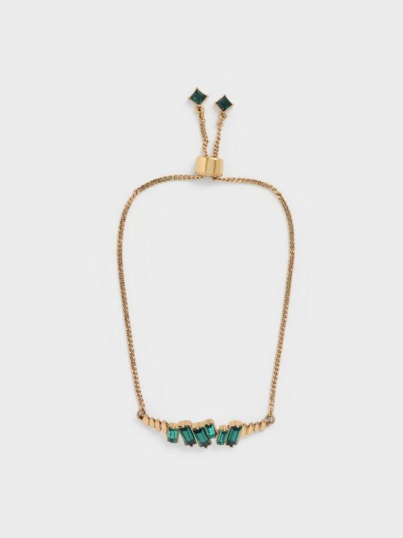 Swarovski® Crystal Embellished Chain Bracelet, Green, hi-res