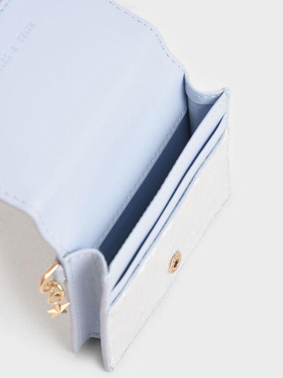 Velvet Embellished Card Holder, Light Blue, hi-res