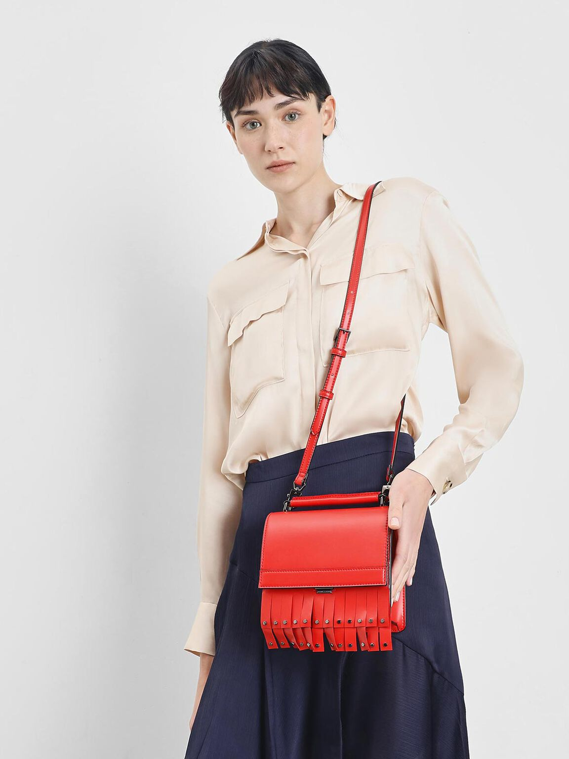 Fringe Trim Top Handle Bag, Red, hi-res