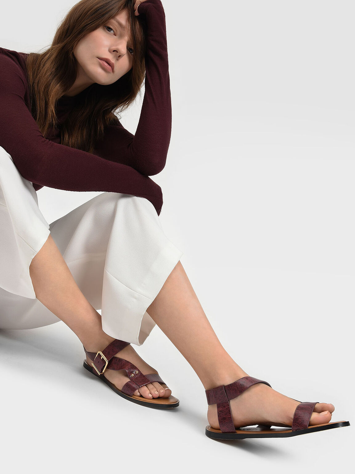 Thick Strap Sandals, Burgundy, hi-res