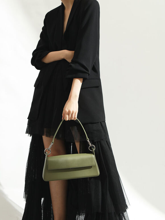Leather Shoulder Bag, Green, hi-res