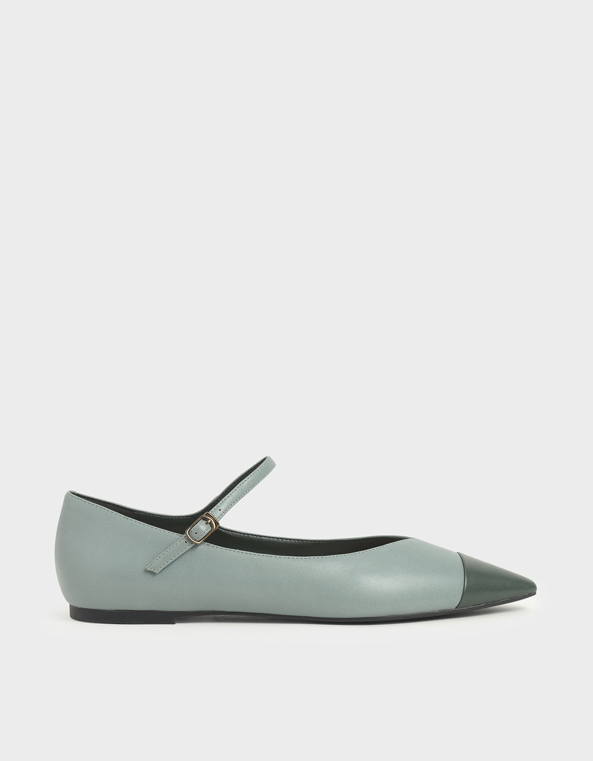 Two-Tone Pointed Toe Mary Jane Flats