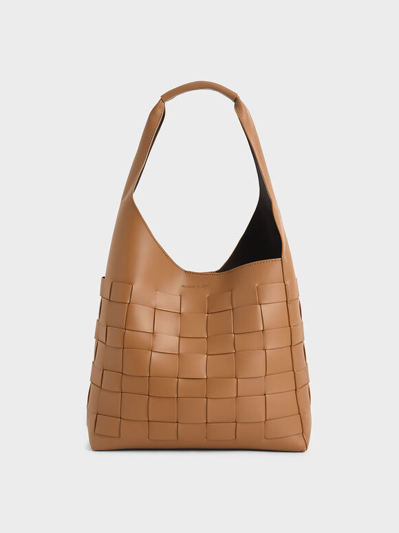 Woven Shoulder Bag, Camel, hi-res