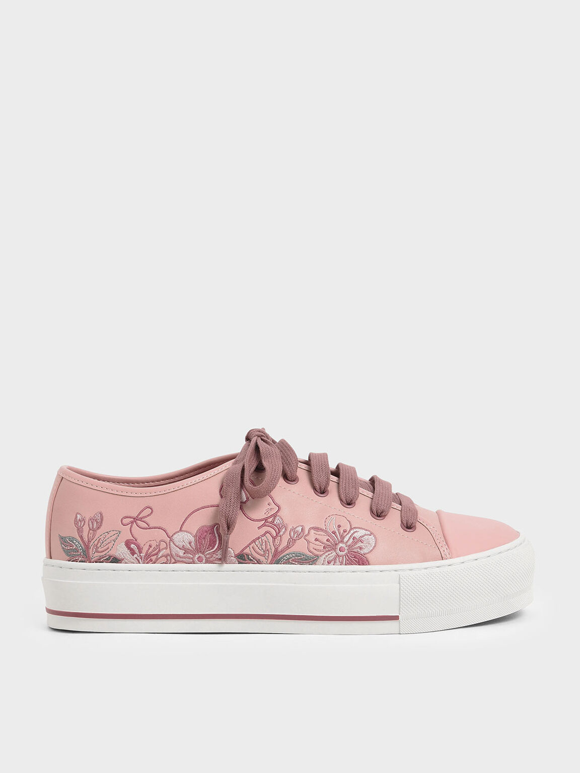 Embroidered Sneakers, Pink, hi-res