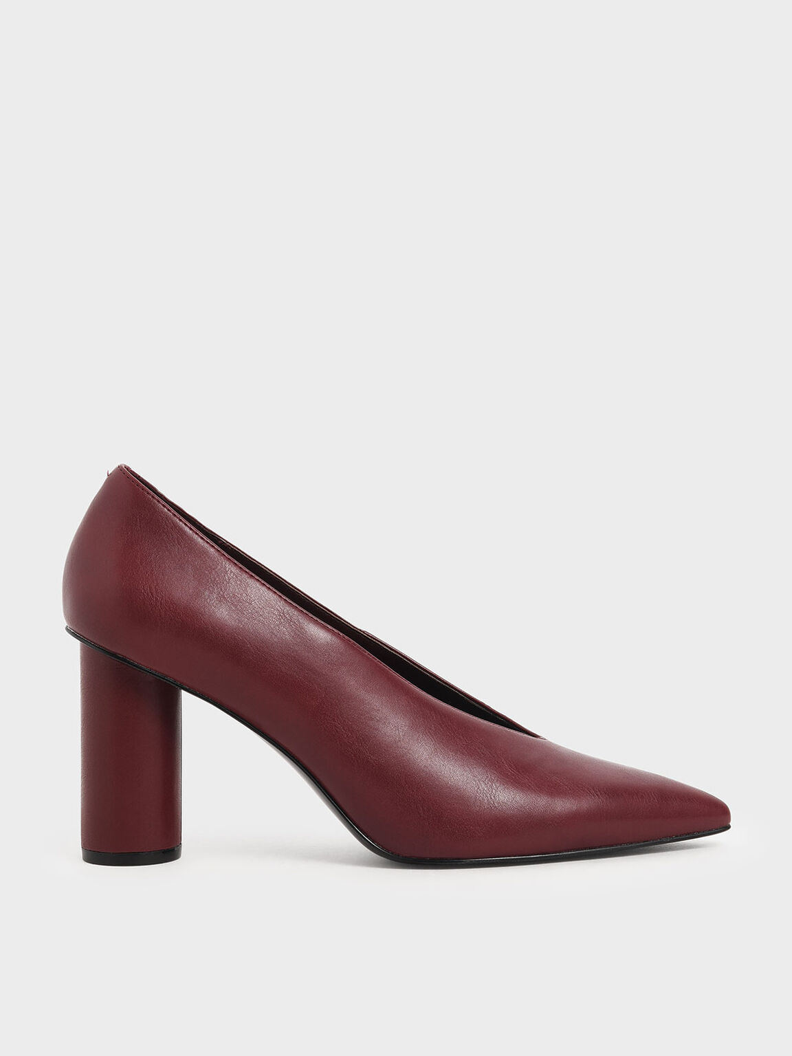V-Cut Cylindrical Heel Pumps, Burgundy, hi-res