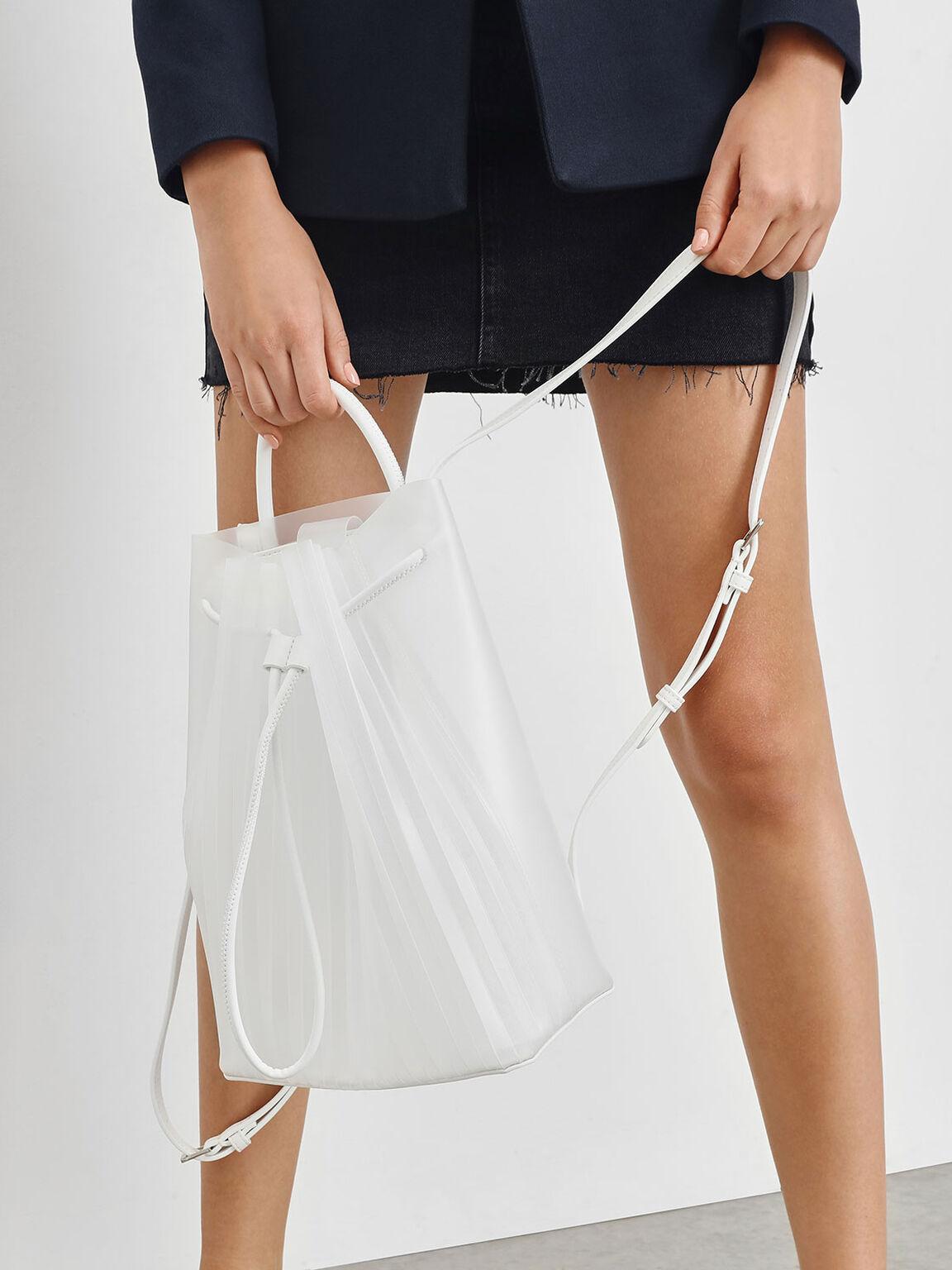 Translucent Drawstring Backpack, White, hi-res