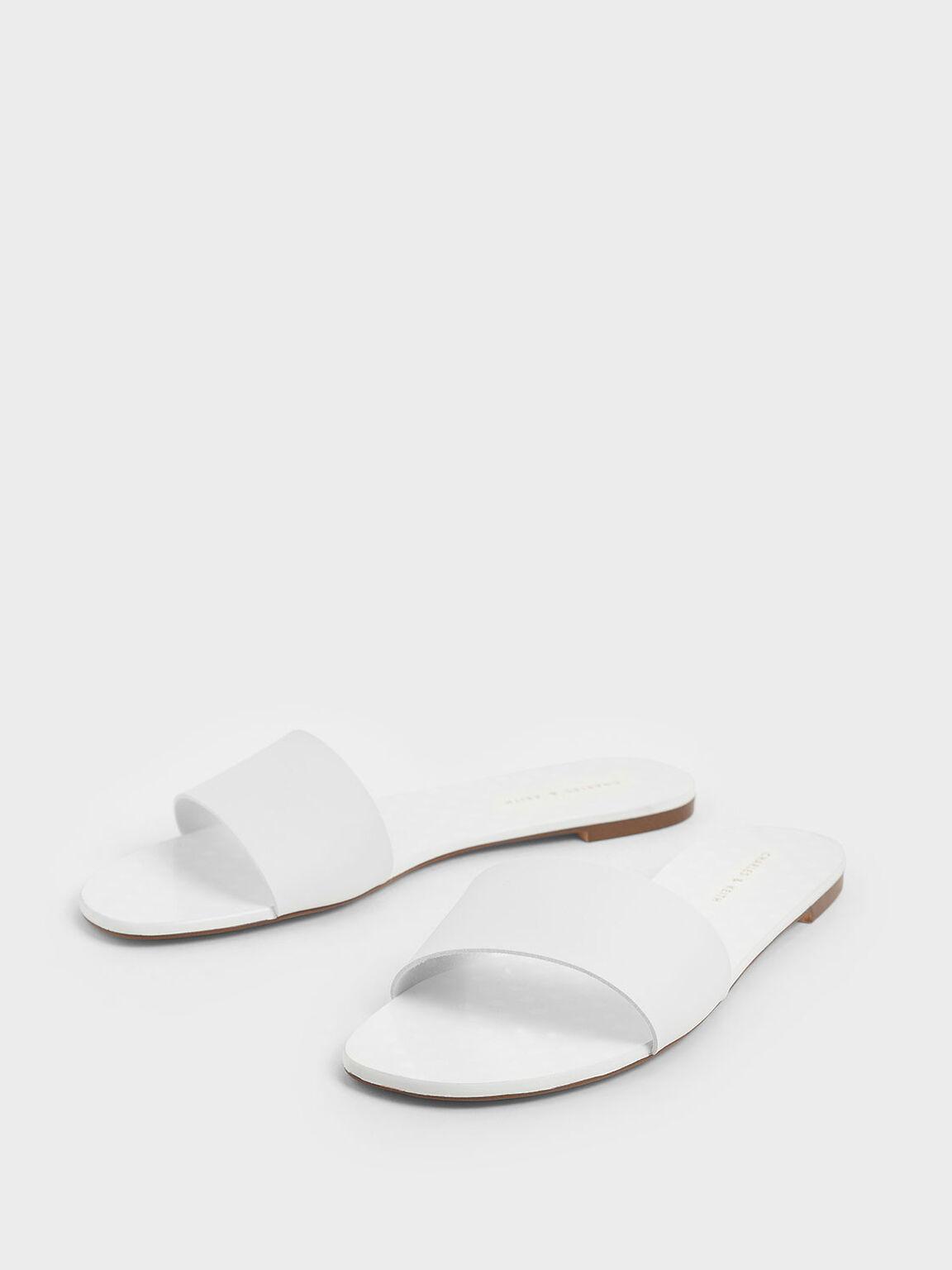 Dot Motif Slide Sandals, White, hi-res