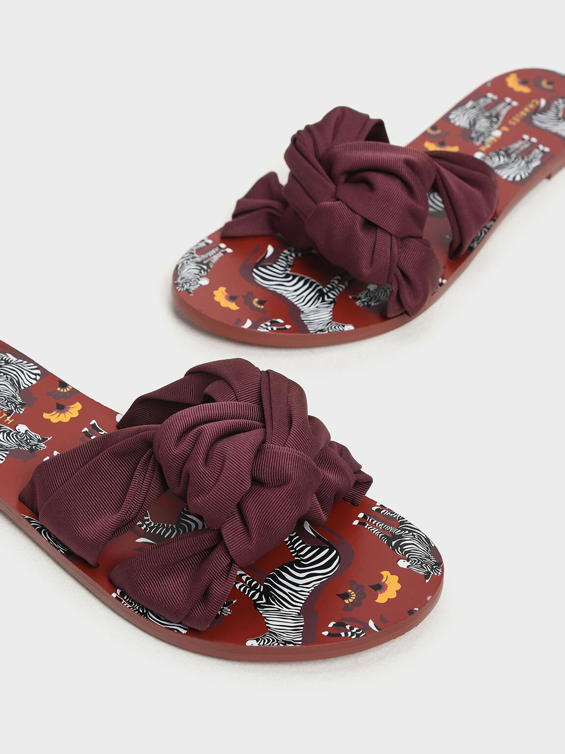 Knotted Slide Sandals, Burgundy, hi-res