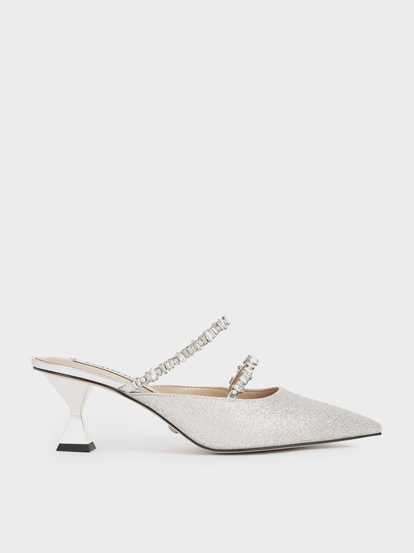 Wedding Collection: Gem-Encrusted Metallic Glitter Mules, Silver, hi-res