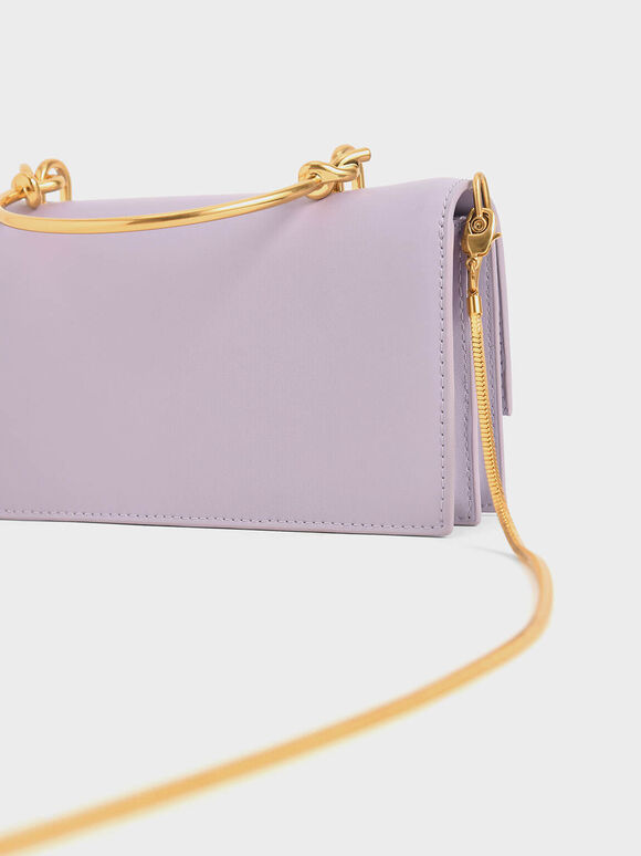 Metallic Handle Long Wallet, Lilac, hi-res