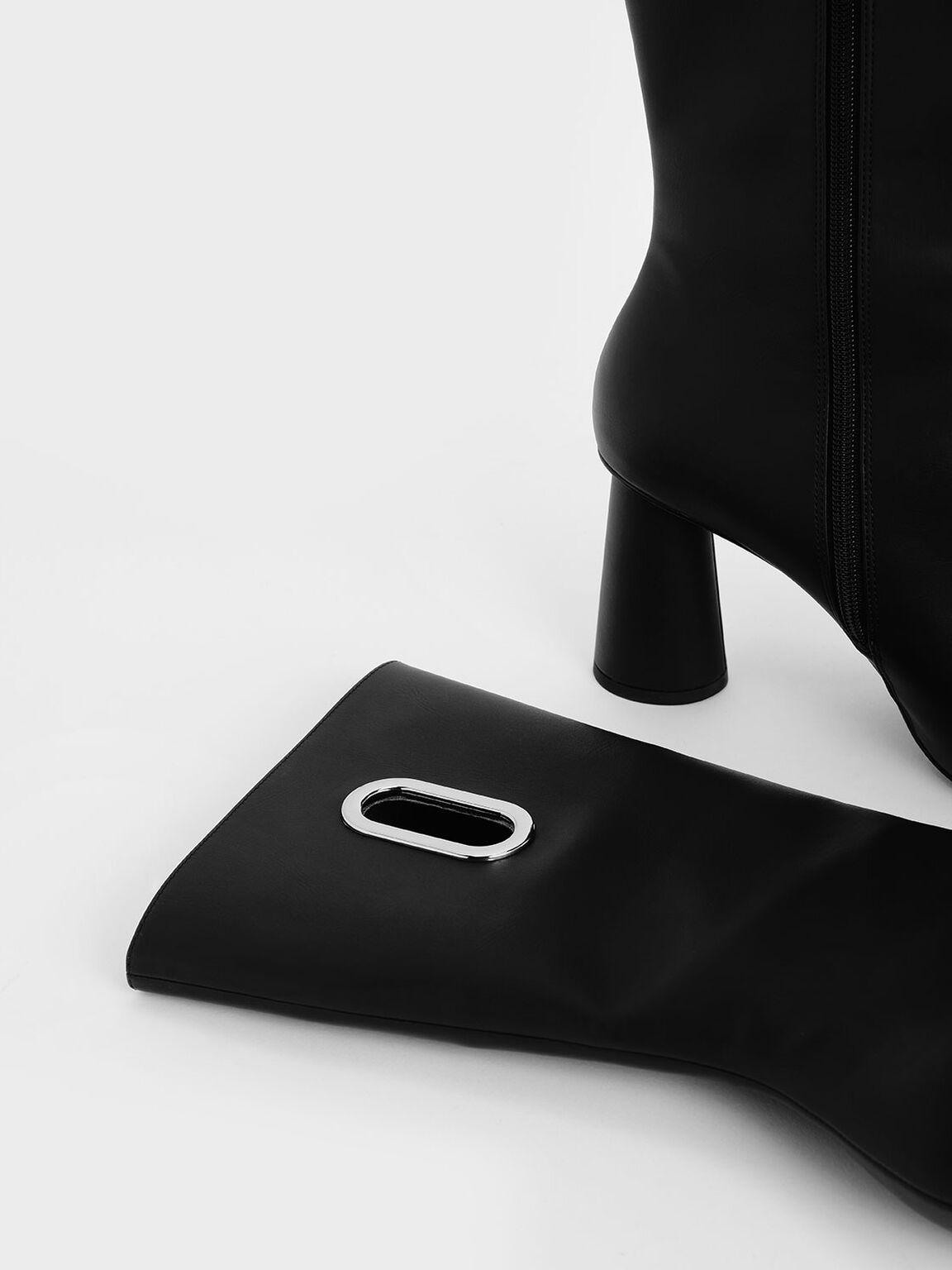 Eyelet Detail Cylindrical Heel Calf Boots, Black, hi-res