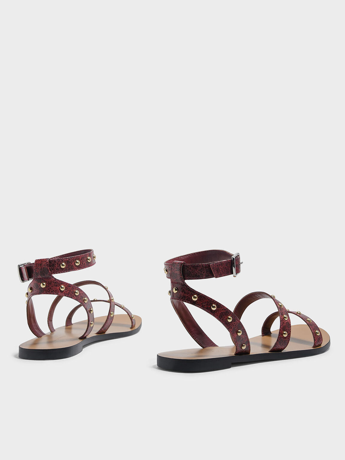 Stud Detail Sandals, Burgundy, hi-res