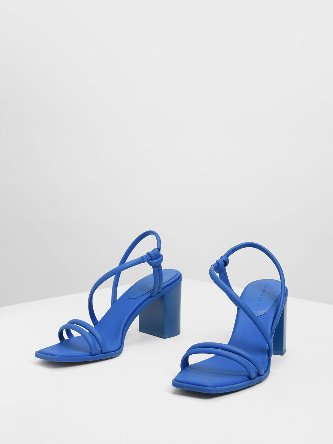 Asymmetrical Strappy Block Heels, Blue, hi-res