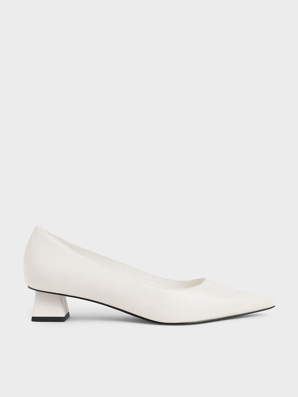 Trapeze Heel Pumps, White, hi-res