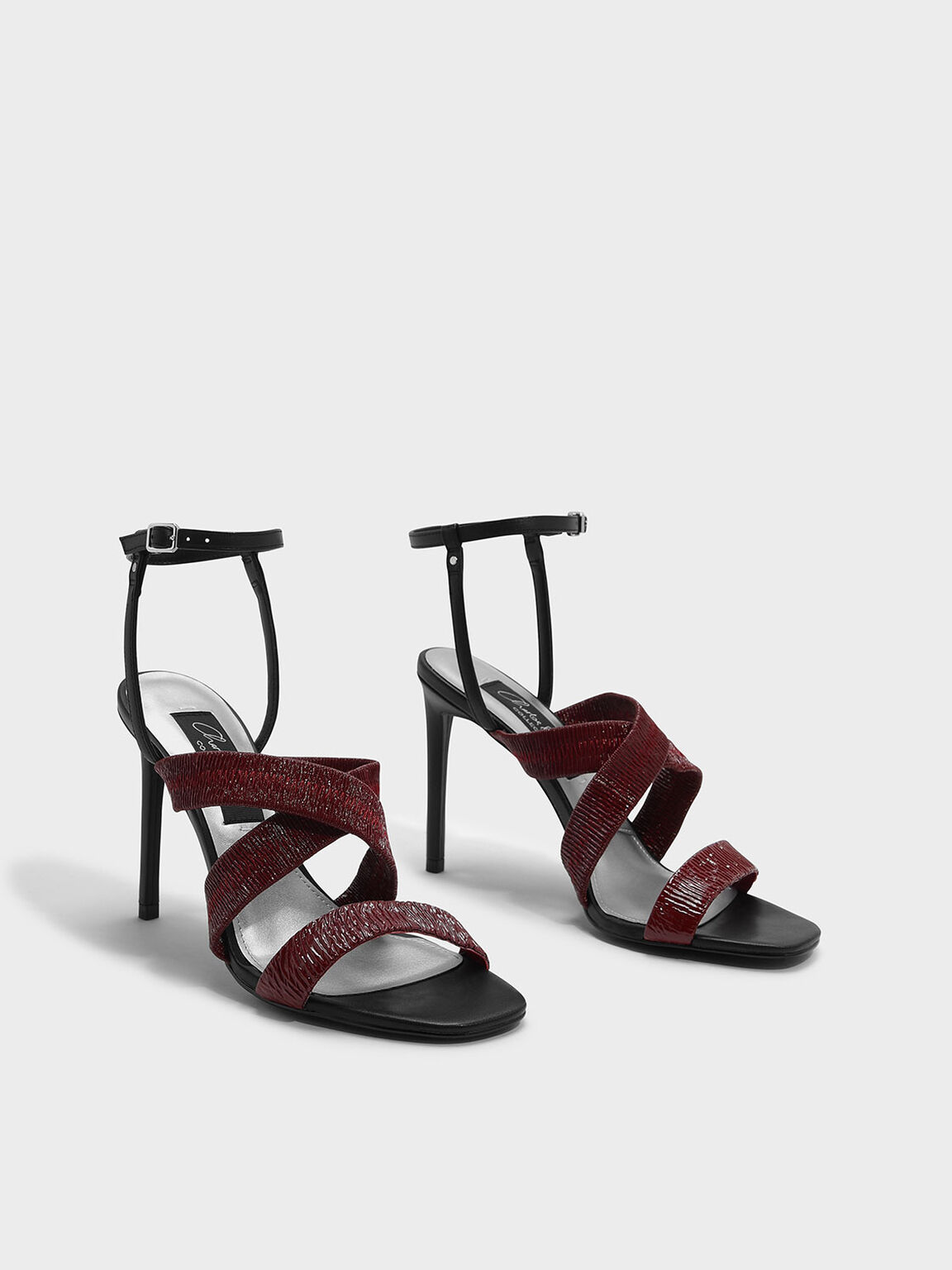 Ruched Detail Strappy Leather Sandals, Red, hi-res