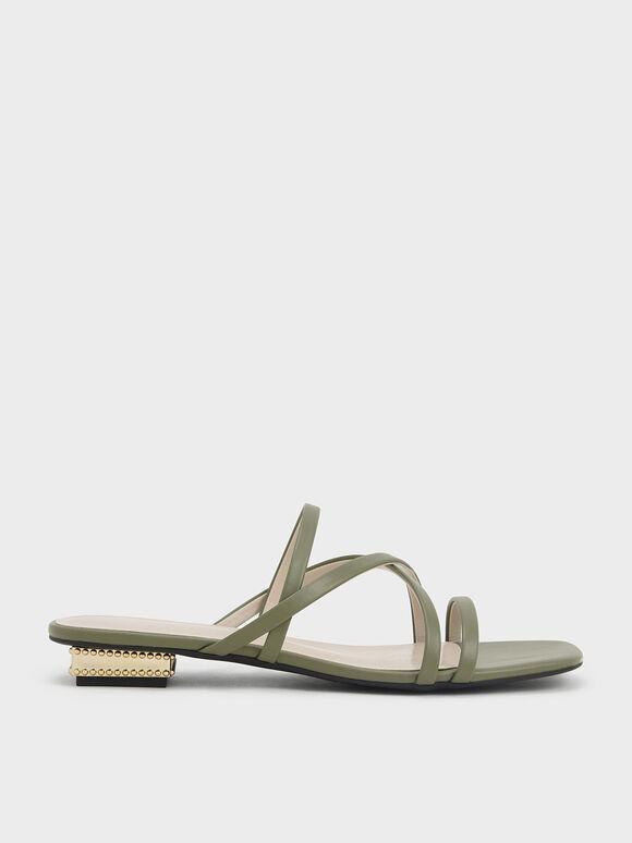 Strappy Sculptural Heel Sandals, Olive, hi-res