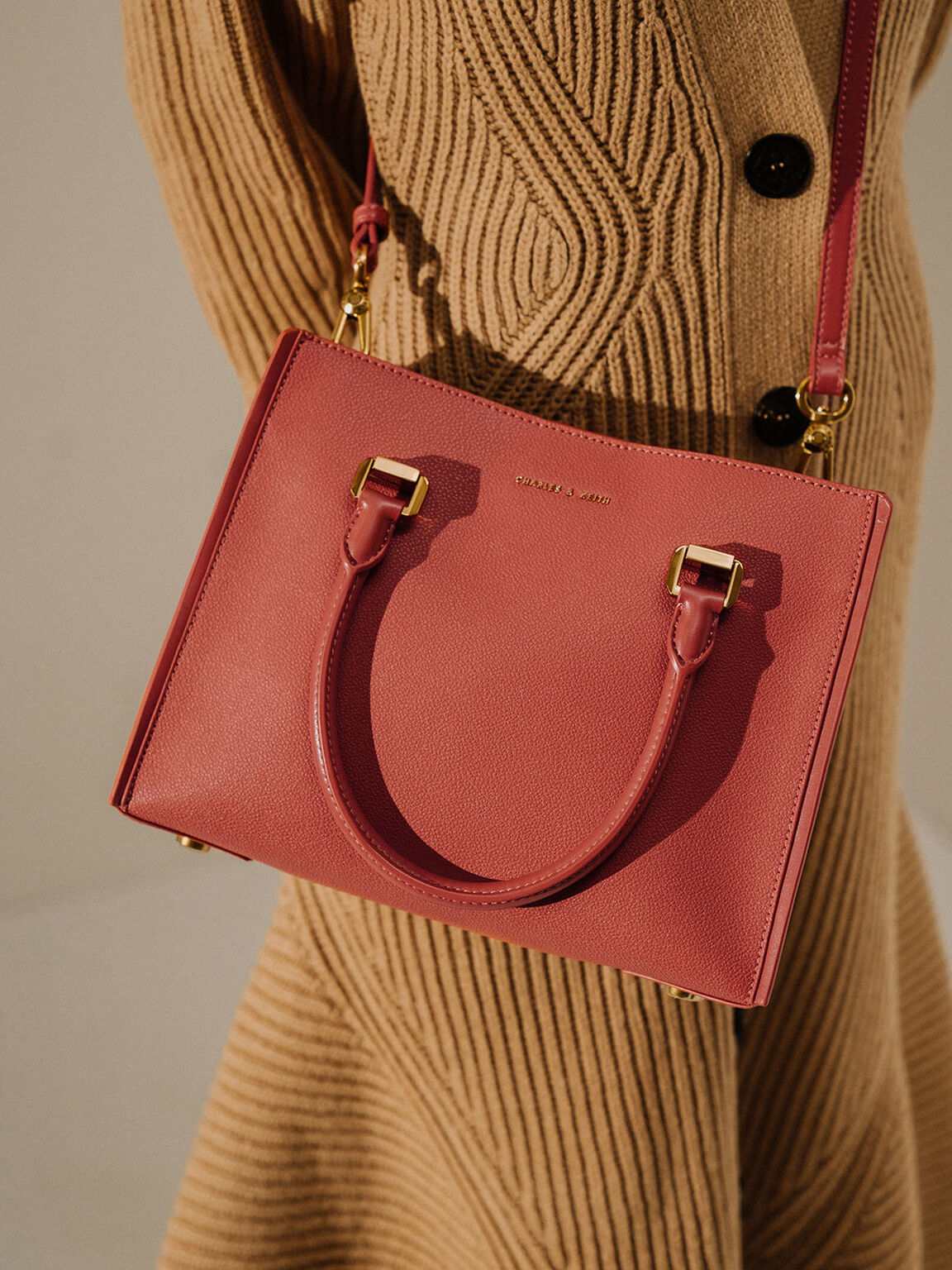 Large Double Handle Bag, Clay, hi-res
