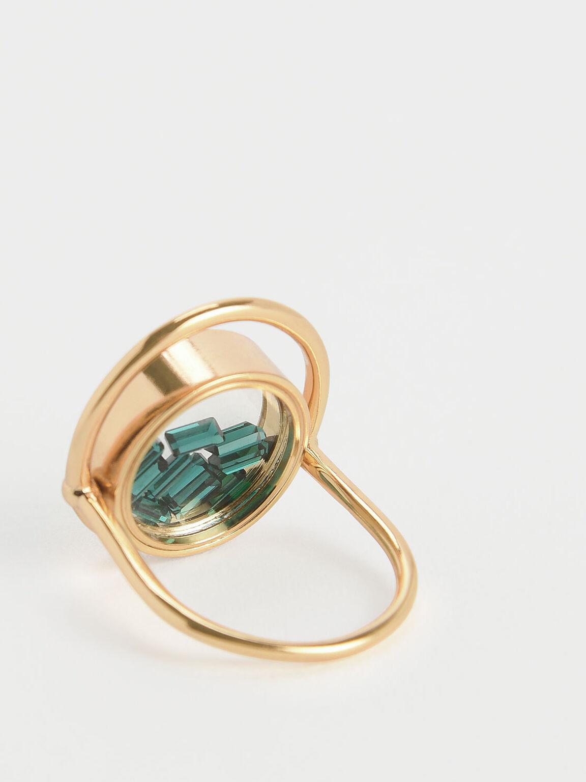 Swarovski® Crystal Emerald Stone Floating Locket Ring, Copper, hi-res