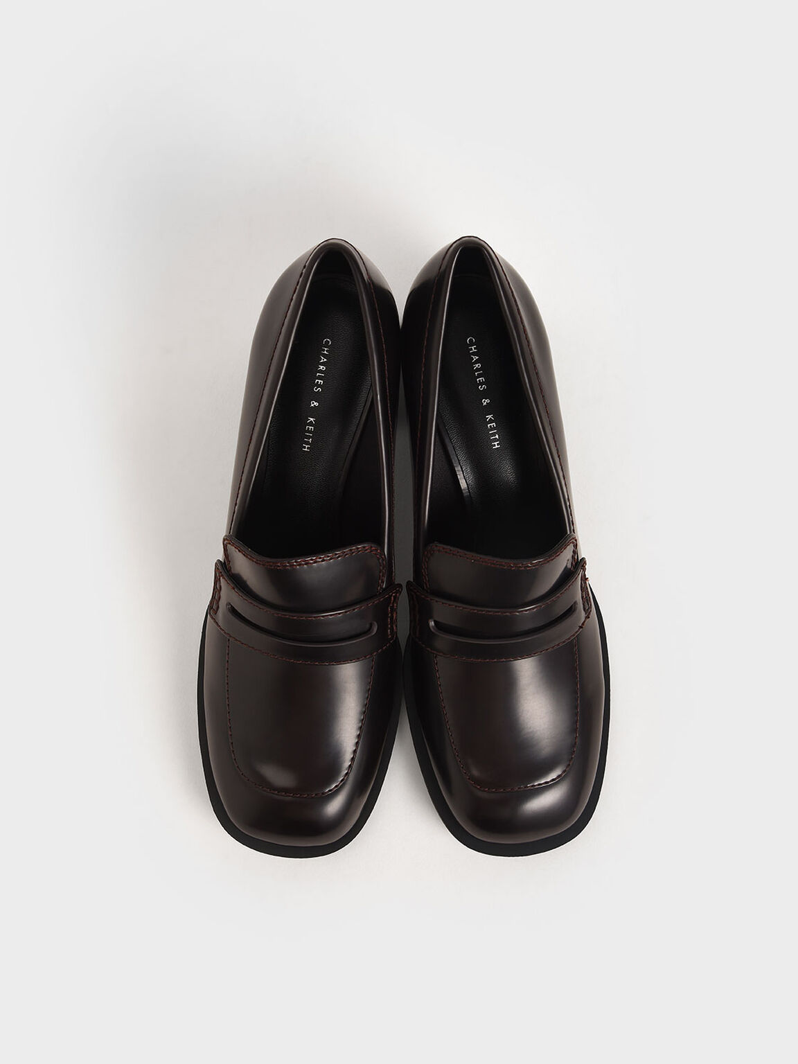 Penny Loafer Court Shoes, Burgundy, hi-res